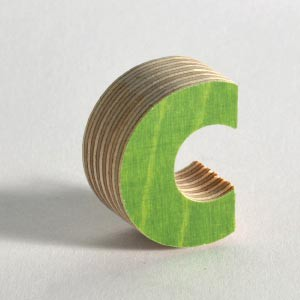Wooden lettering like these 3d letters are made of strong plywood with a colored plastic coating.